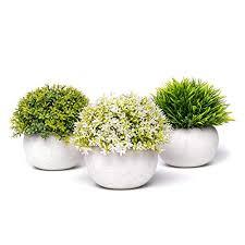 coradoma künstliche pflanzen im topf 3er set deko pflanze kunstpflanze mit gras mini sukkulente blumen set klein kunstblumen für balkon büro