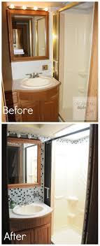 Elegant RV Bathroom BEFORE With Brass Shower OrganizingMade Fun