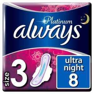 Always Platinum Night Sanitary Towels Wings - 8ct, Size 3