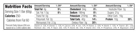 Peanut Toffee BuzzR Nutritional Facts