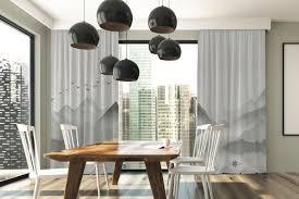 casa padrino luxus vorhang set gebirge mit see grau 250 x h 290 cm bedruckte leinen samt vorhänge ösenvorhänge schiebevorhänge edle