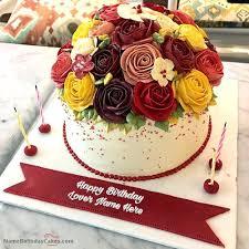 Creative Roses Birthday Cake With Name