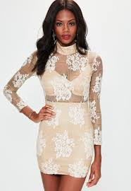 long sleeve high neck lace bodycon dress missguided