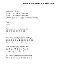 song notes and kuch kuch hota hai