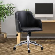 Vinsetto 360 Degree Swivel Chair Adjustable Height Home Office PU Leather  Black