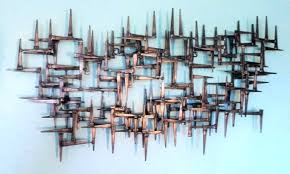 Abstract Metal Wall Art Sculpture 7 Modern Mid Century By