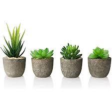 amzkoi künstliche sukkulenten 4 stücke künstliche pflanzen mini künstliche sukkulenten set mit töpfen kunstpflanzen klein deko für büro tische