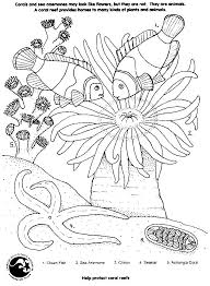 Coral Reef And Fish Starfish Coloring Worksheet For Children