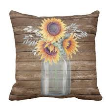 Rustic Sunflower Pillow Decor Throw
