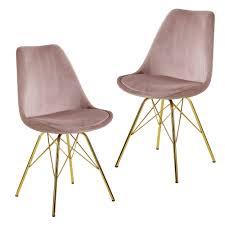 wohnling esszimmerstuhl 2er set samt rosa küchenstuhl mit goldenen beinen schalenstuhl skandinavisches design polsterstuhl mit stoffbezug stuhl
