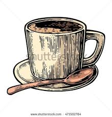 Cup Of Coffee With Saucer Spoon Hand Drawn Sketch Style Vintage Color Vector