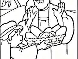 Jesus Feeds 5000 Coloring Sheet Pages