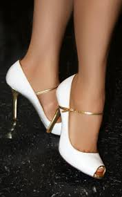 guess newbury mary jane pump in white with gold trim aleida net