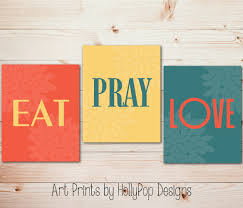 Modern Kitchen Trio Wall Art Eat Pray Love