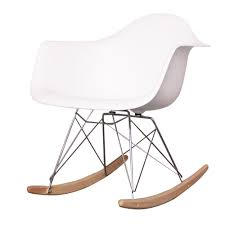 Charles Eames Style Cool White Plastic Retro Rocking Chair