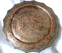 Daher Decorated Ware Tray 1971 by Vintage Islamic Persian Qalam Zani Art Hand Engraved Copper Tray