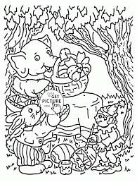 Easter In The Forest Coloring Page For Kids Pages