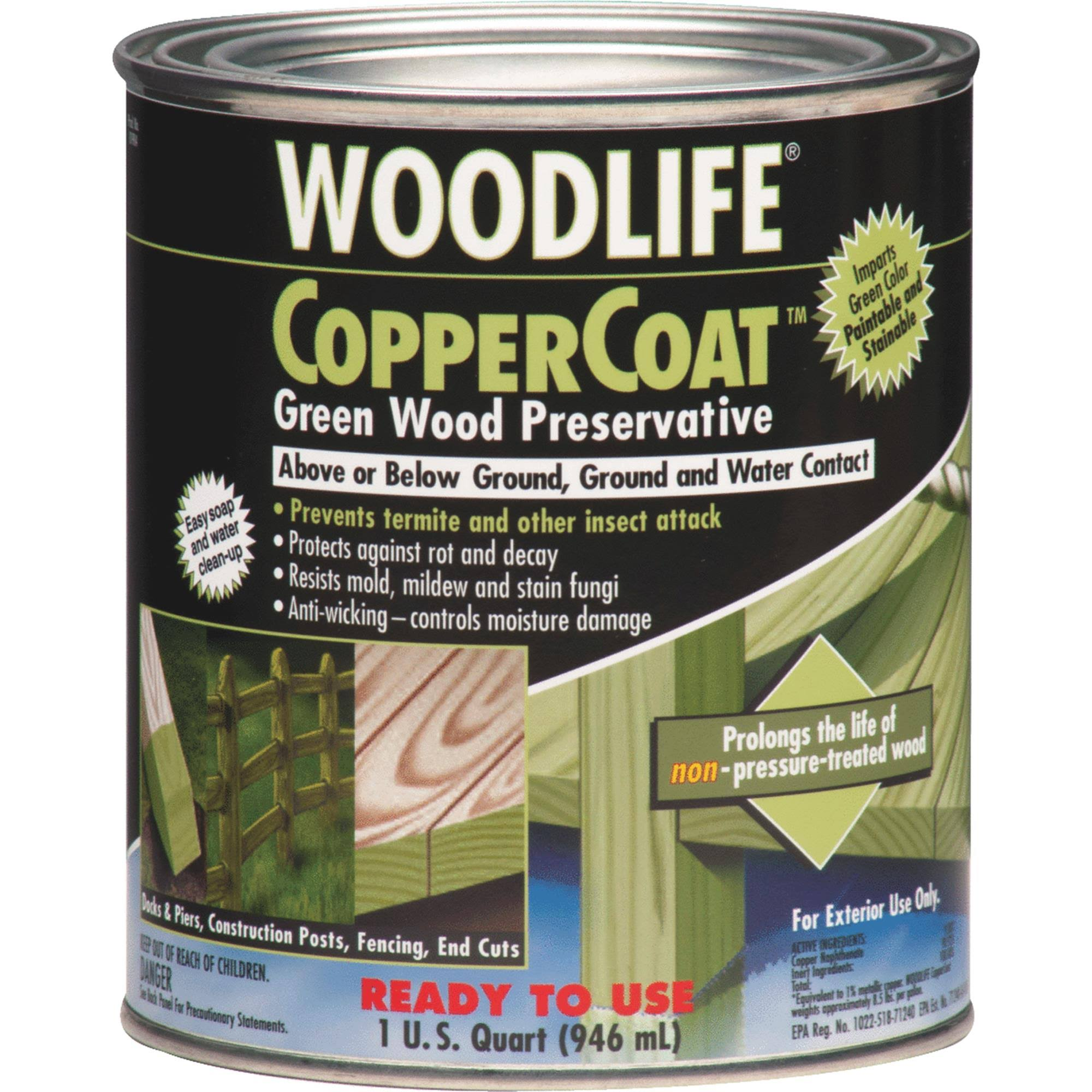 Rust Oleum 1904A Woodlife Coppercoat Green Wood Preservative - 1 Quart, Green