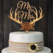 Wood Cake Topper Antlers Mr Mrs Wedding Rustic Centerpieces Mariage Decoration