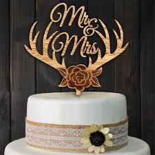 Wood Cake Topper Antlers Mr Mrs Wedding Rustic