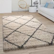 hochflor teppich wohnzimmer shaggy skandinavisches rauten muster beige grau grösse 60x100 cm