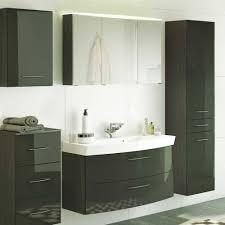 waschplatz badmöbel set in hochglanz dunkelgrau mladen inkl spiegelschrank 2 teilig