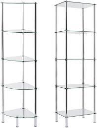 casa pura glas eckregal diana mit 5 böden aus sicherheitsglas ideal passend zum glas regal 30x30x134cm