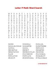 Letter P Math Word Search by A R Mathematics