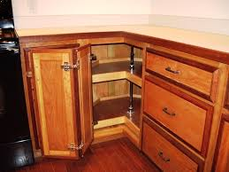 hickory wood saddle raised door corner kitchen cabinet storage