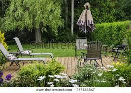 Wooden Patio Deck Backyard Home Outdoor Stock