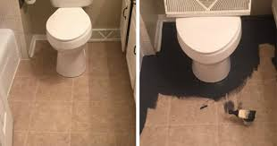 she hated her ugly linoleum floor so she stenciled over it with