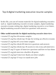 Top 8 Digital Marketing Executive Resume Samples In This File You Can Ref Materials