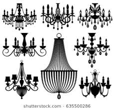 Vintage Crystal Chandeliers Vector Silhouettes Isolated On White