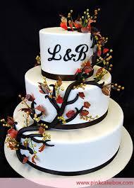 Monogrammed Wedding Cake Rustic Autumn