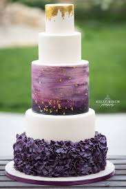 Picture Of A Unique Modern Wedding Cake With Purple Ruffle Layer White Layers An Ombre Gold Leaf And Top