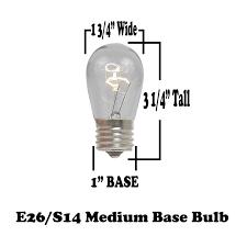 s14 clear bulbs 11 watt e27 base novelty lights inc