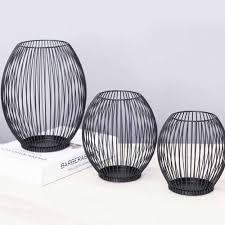 geometrische formen eisen kerzenhalter hohl eisen kerzenhalter schwarz kaffee tisch dekoration wohnzimmer aktivität moderne laterne