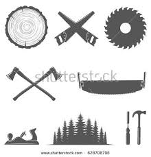 Set Of Carpentry Toolswoodworkers Lumberjack Sawmillhand Toolsforest And