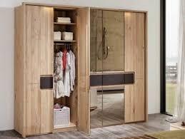 massivholz kleiderschrank mit spiegeltür und schubfächer v