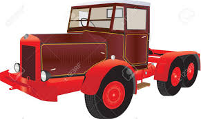 100 Articulated Truck A Vintage Red And Maroon Isolated On White Royalty