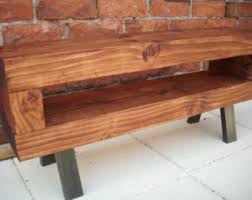 Low Industrial Style Chunky Slim Rustic Tv Stand Finished In Cherry Metal Legs