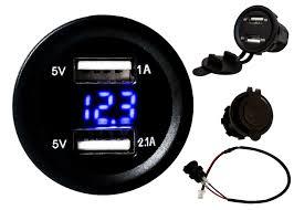 100 Truck Outlet Usa Dual USB Port Blue LED Voltmeter Fast Charger Socket Power