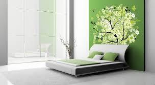 wanddeko für schlafzimmer modern akzentwand gruen wandtattoo