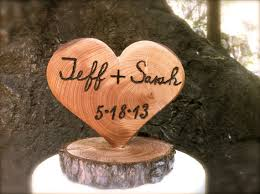 Rustic Wedding Cake Topper Customized Wooden Heart Winter Country Fall Weddings