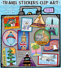 Travel Stickers Clip Art Vacation World Clipart Suitcase