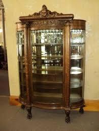 Antique Curved Glass China Cabinet Plush Design