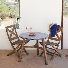 mosaic tiled bistro table blue top driftwood base west elm