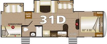 Travel Trailer Floor Plans With Bunk Beds by Northwood Arctic Fox 31d