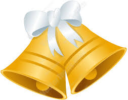 Gold Bells With A White Bow Cartoon Clipart