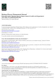 PDF) Business Process Improvement Of Credit Card Department: Case ...
